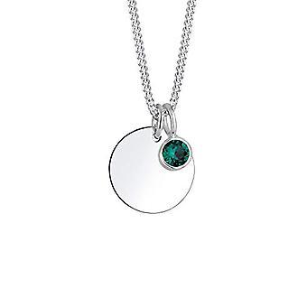 Elli halskæde med vedhæng med kvinders krystal, i Sølv 925, Grøn (Dark), Størrelse 45