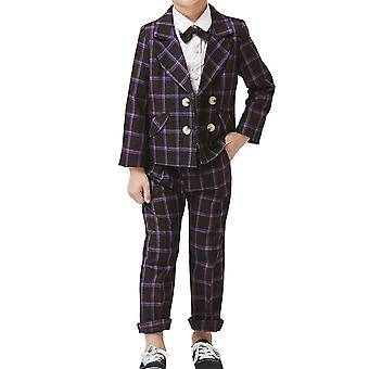 Mile Boys Double-breasted Checkered Suit Two-piece Suit (tops & Pants) Casual Slim Suit 4 Colors For 2-9 Years Old