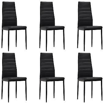 vidaXL sillas de comedor 6 piezas de cuero negro