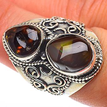 Large Mexican Fire Agate Ring Size 7.25 (925 Sterling Silver)  - Handmade Boho Vintage Jewelry RING66759