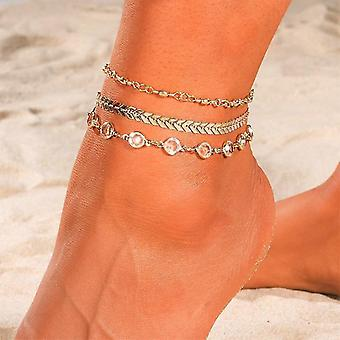nový enl1137-1 motýľový anklet zlatý viacvrstvový krištáľový členok náramok noha reťaz noha pláž sm667