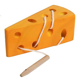 Wooden Laced Cheese Thread Toys, Fine Motor Skills Toys, Early Learning