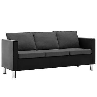 vidaXL 3 siège canapé en simili-faux noir et gris foncé