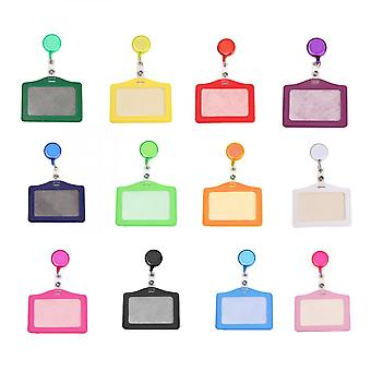 12pc Retractable Badge Holder With Horizontal Card Holder For Id Cards