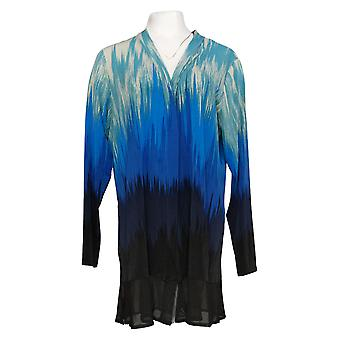 Women with Control Women's Duster Jersey Mesh Trim Blue A397049