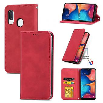 Case For Samsung Galaxy A20e/a10e Magnetic Closure Leather Wallet Cover Housse Etui Shockproof - Red