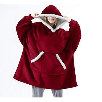 Women's Pajamas Can Wear Lamb Wool Lazy Blanket Hooded Sweater(Red)