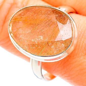 Tamanho do anel de quartzo rutilado 12.75 (925 prata esterlina) - Torção de Joias Vintage Boho Artesanal RING75215