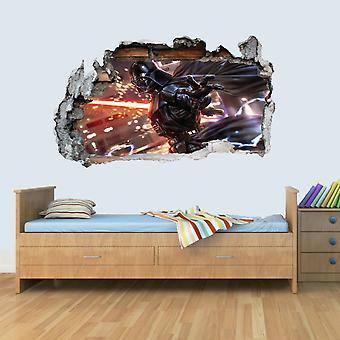 Soveværelse Vinyl Wall Smadret 3D Art Klistermærker af illustreret Darth Vader Plakat