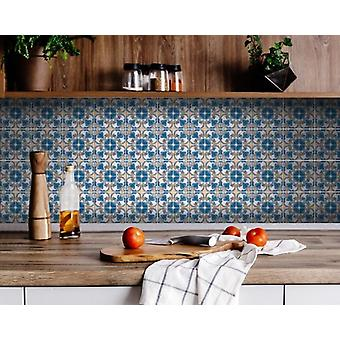 """5"""" X 5"""" Teal Taupe Sia Removable Peel and Stick Tiles"""