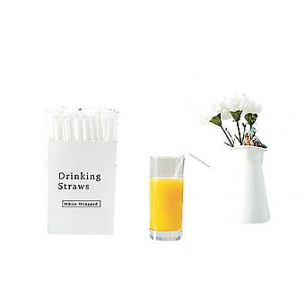 Drinking straws stirrers 300 pcs transparent plastic disposable flexible straws individual package straight straws