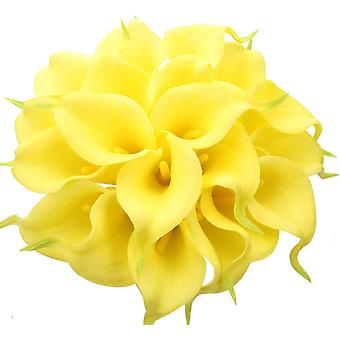 24 יח' חבצלות קאלה לטקס מלאכותי, זר פרחי קאלה לילי יחיד מציאותי (לבן טהור)