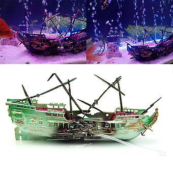 Aquarium Aquarium Aquarium Landscaping Decoration Pneumatic Toys Big Rotten Ship Sinking