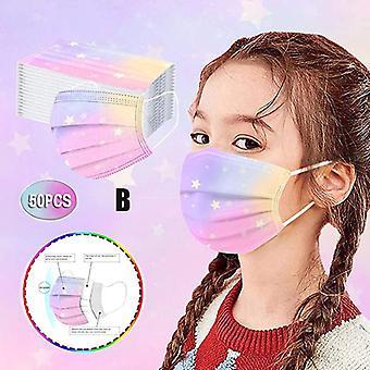 50pcs Kinder Einweg-Gesichtsmaske Kinder 3ply Earloop Schützende atmungsaktive Gesichtsmaske Jungen Mädchen