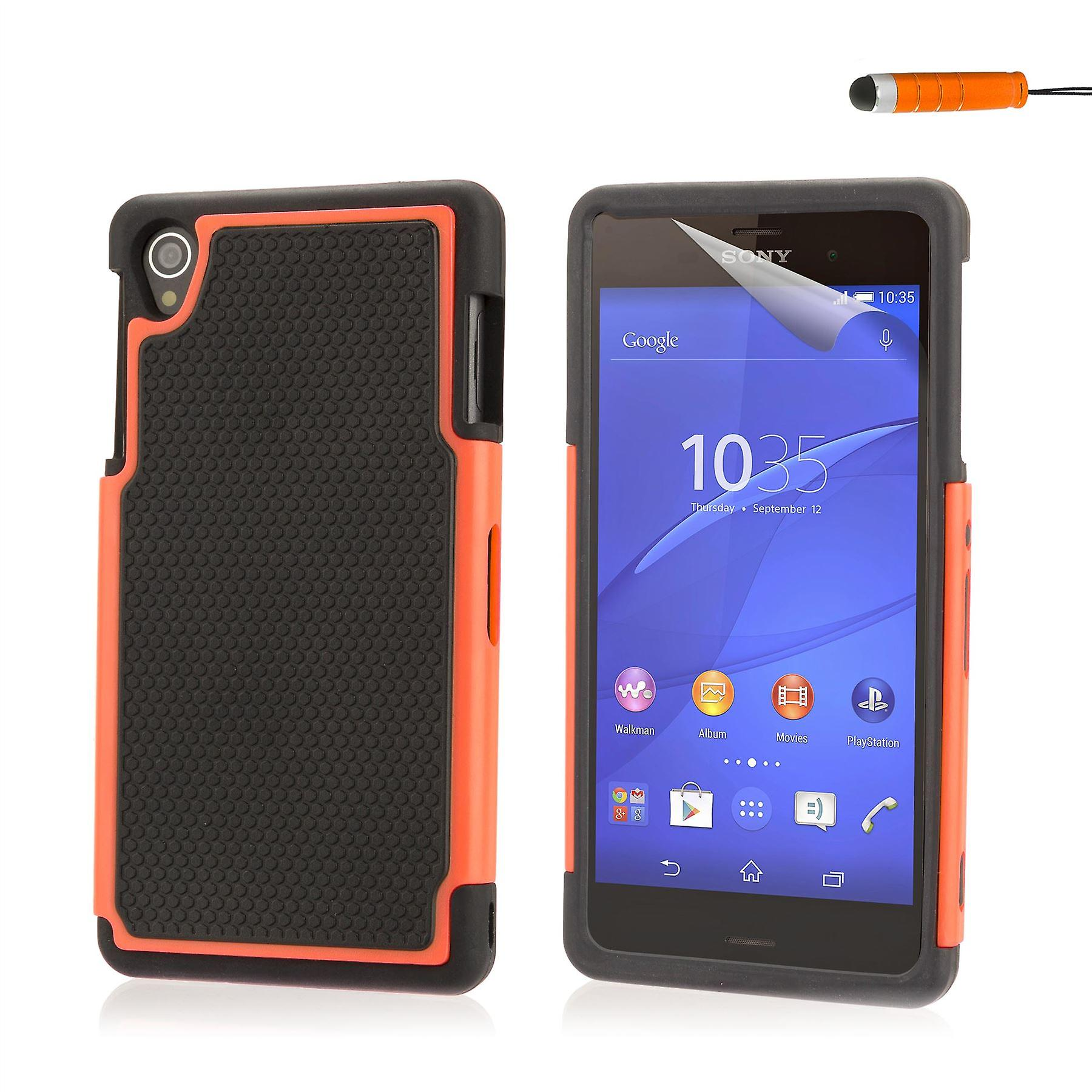 Shock proof case cover for Sony Xperia Z3 including stylus - Orange