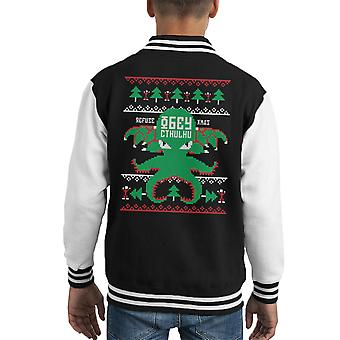 クリスマスを拒否するクトゥルフ ニット パターン子供のバーシティ ジャケットに従う