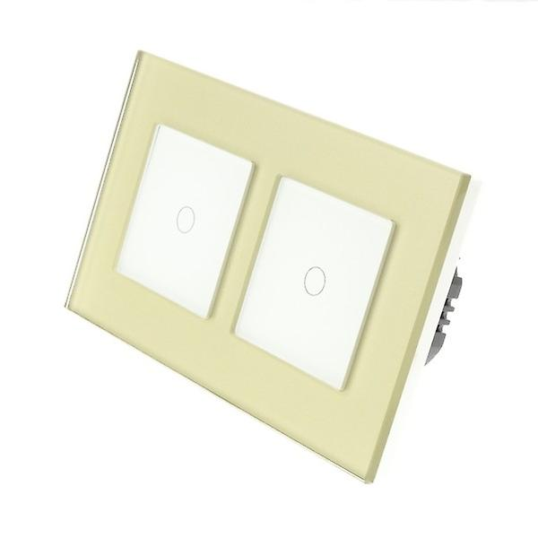I LumoS Gold Glass Double Frame 2 Gang 2 Way Touch LED Light Switch White Insert