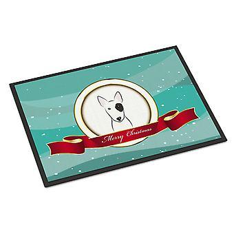 ブル ・ テリア メリー クリスマス屋内または屋外マット 24 × 36