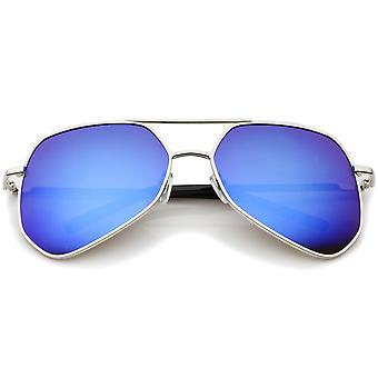 Moderne zeshoekige geometrische metalen dwarsbalk Mirror Lens Aviator zonnebril 60mm