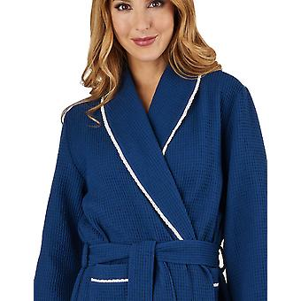 Slenderella HC1301 Women's Waffle Navy Dressing Gown Loungewear Bath Robe Housecoat Robe