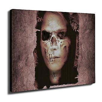 Zombie Girl Death Skull Wall Art Canvas 40cm x 30cm | Wellcoda