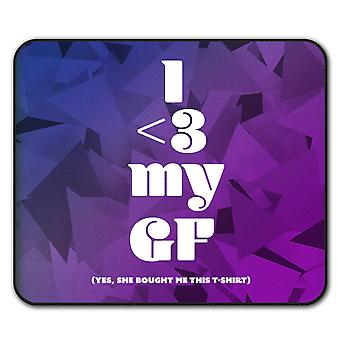 Funny Love Girlfriend  Non-Slip Mouse Mat Pad 24cm x 20cm | Wellcoda