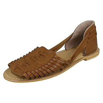 Ladies Leather Collection Flat Weave Sandals F00145 - Tan Leather - UK Size 8 - EU Size 41 - US Size 10