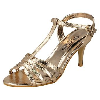 Ladies Spot On High Heel Metallic Sandals F10837 - Rose Gold Metallic Foil - UK Size 3 - EU Size 36 - US Size 5
