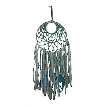 Blue and White Feather and Lace Fringe Dream Catcher