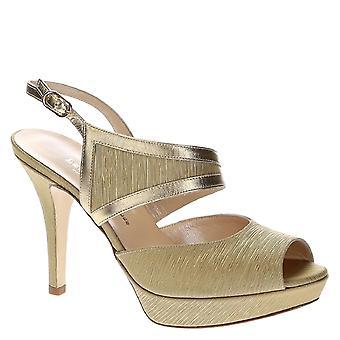 Platform sandals in platinum leather and satin