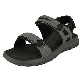 Heren Skechers vastgebonden sport sandalen Upwell 51874 - zwart/houtskool synthetische - UK maat 10 - EU grootte 45 - US maat 11