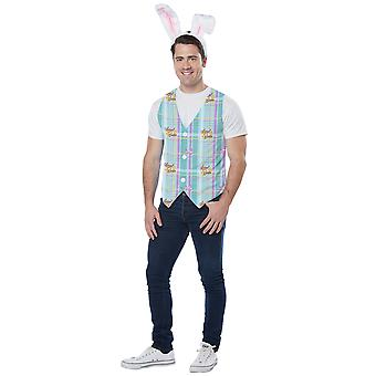 Easter Bunny Hare Rabbit Headband Vest Holiday Dress Up Mens Costume Kit