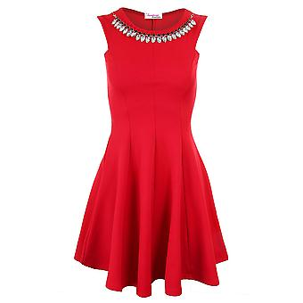Ladies Sleeveless Dimante Necklace Evening Smart Women's Skater Dress