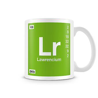 Wetenschappelijke bedrukte Mok met Element symbool 103 Lr - Lawrencium