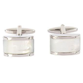 David Van Hagen Mother of Pearl Domed Rectangle Cufflinks - Silver/Cream