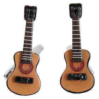 Zennor Acoustic Guitar Cufflinks - Brown/Black