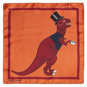 Simon Carter T-Rex Toff Pocket Square - Orange