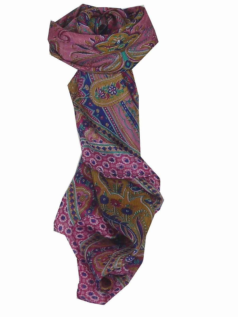 Mulberry Silk Traditional Square Scarf Ami Cerise & Blue by Pashmina & Silk