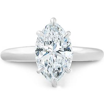 2.01ct Marquise Shape Diamond Solitaire Engagement Ring 14k White Gold