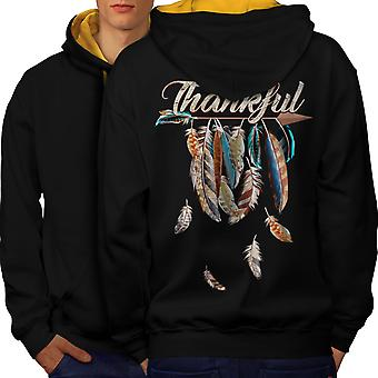 Feather Thanksgiving Men Black (Gold Hood)Contrast Hoodie Back | Wellcoda