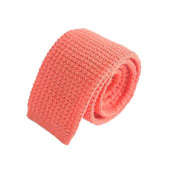 Open weave plain knitted tie – orange