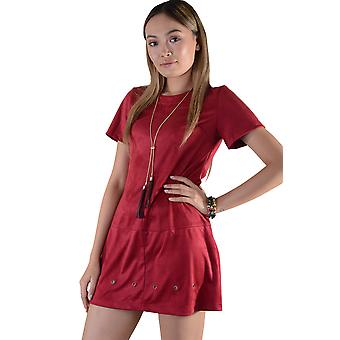Lovemystyle Red Suede T-Shirt Dress With Eyelet Hole Hem Detail