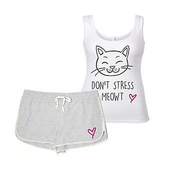 Não definir estresse Meowt gato pijama