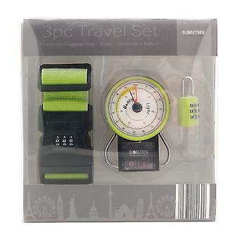 Globetrek Luggage Strap, Scales & Padlock Travel Gift Set, Lime Green
