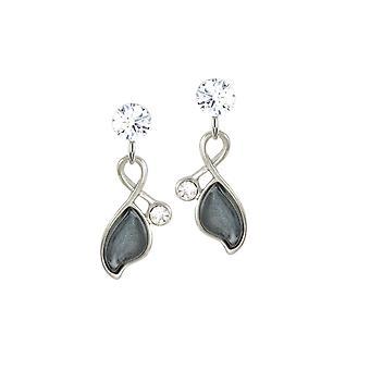 Eternal Collection Ponderosa Grey Resin Silver Tone Drop Clip On Earrings