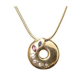 Goldene Halskette mit Anhänger Rubin Saphir Diamant