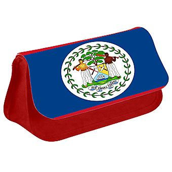 Belize Flag Printed Design Pencil Case for Stationary/Cosmetic - 0018 (Red) by i-Tronixs