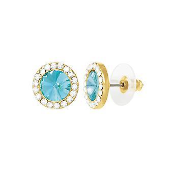 Eternal Collection Elfin Aquamarine Austrian Crystal Gold Tone Stud Pierced Earrings