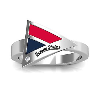 Fresno State Engraved Sterling Silver Diamond Geometric Ring In Red and Blue