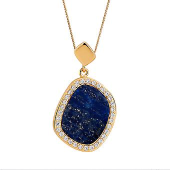 Orphelia 925 Silver Pendant with Chain Yellow with Lapis and Zirconium